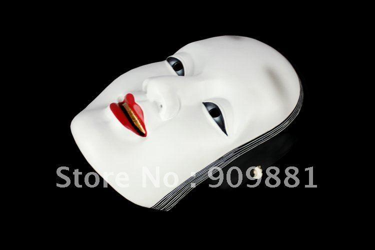 Japanese White Noh Grisly Mask Prajna Noh Ghost Manbi Kabuki Scary Resin Masks Grimace Masquerade Party Cosplay Costume Props