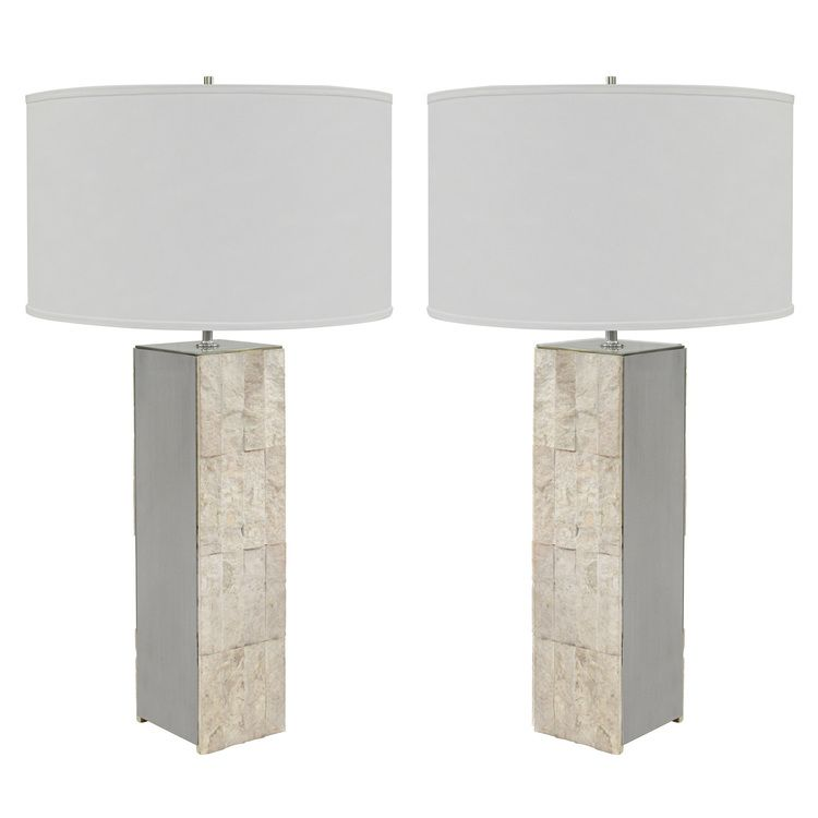 Pair of table lamps in ivory flagstone with brushed steel sides pair of table lamps in ivory flagstone with brushed steel sides lobel modern nyc aloadofball Gallery