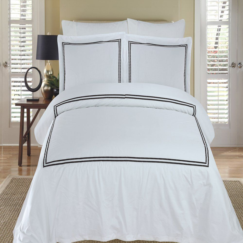 maya white u0026 black embroidered king california king duvet cover set 100 egyptian cotton 300 thread count by royal hotel bedding