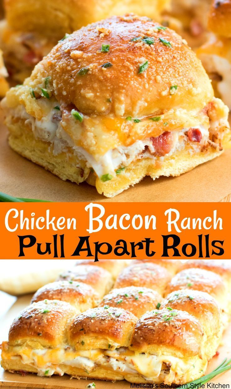 Chicken Bacon Ranch Pull Apart Rolls chickenrecipes chicken bacon footballfood bacon sliders partyfood food recipes appetizers snacks entertaining bread rolls ranchdressing lunch is part of Chicken bacon ranch -