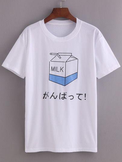 56ccef93 White Milk Print T-shirt | T-shirts in 2019 | Shirts, Printed shirts ...