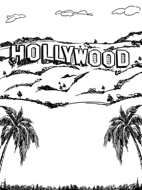 Hollywood Line Art Printed Photo Backdrop 7412 In 2020 Line