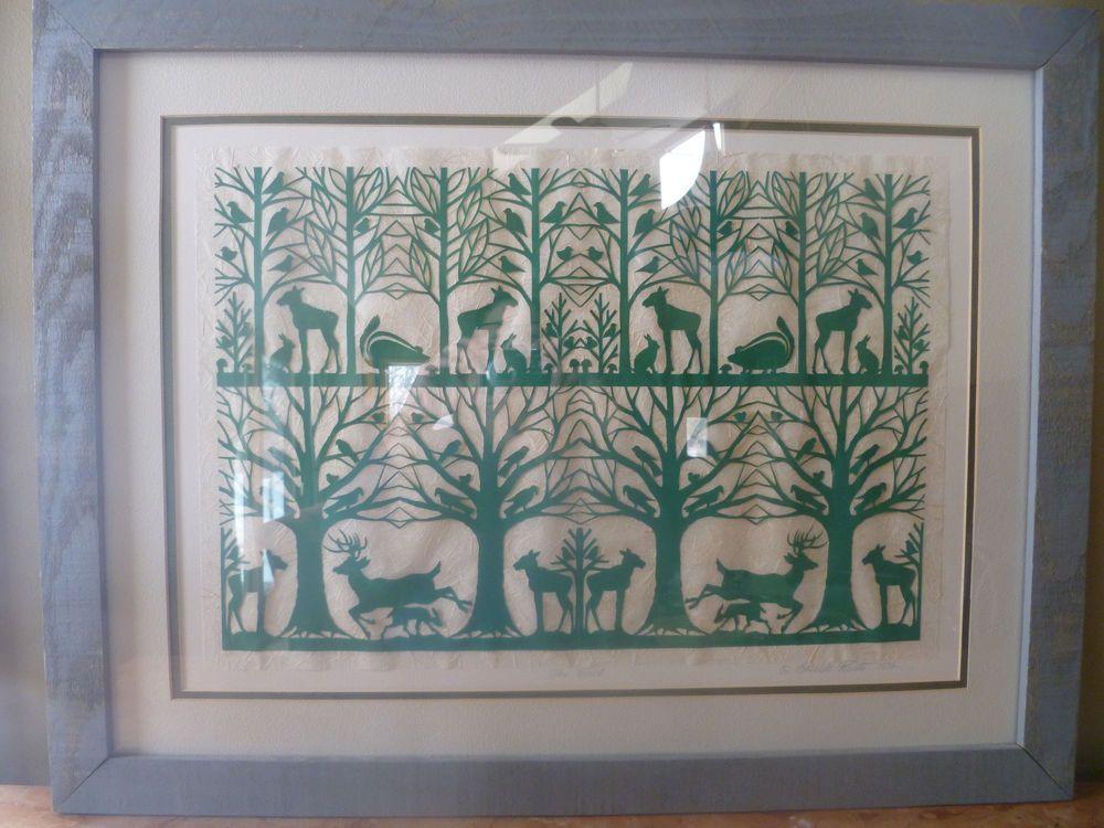 "Folk Art Scherenschnitte Cut Paper Art""The Forest"" by Artist Elizabeta W Kaleta"