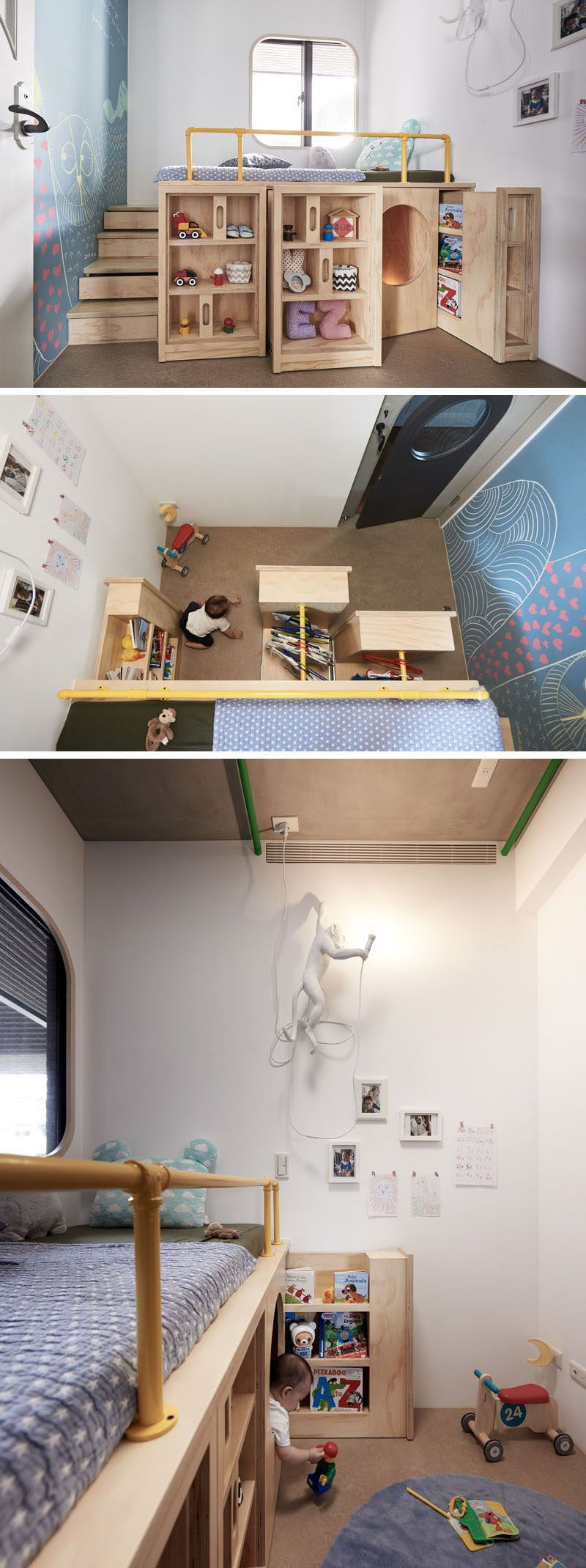 Design Detail This Children S Bedroom Has A Custom Bed Unit With Storage And A Hidden Play Space Child Bedroom Layout Small Kids Room Bedroom Furniture Layout