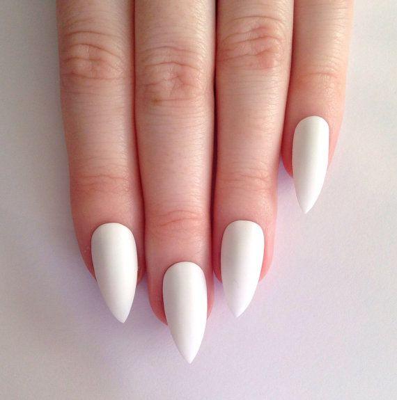 Matte white stiletto nails - $20.87   wants   beauty   Pinterest ...