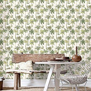 Fresco Palm Print Tree Green Wallpaper Amazon Co Uk Kitchen Home
