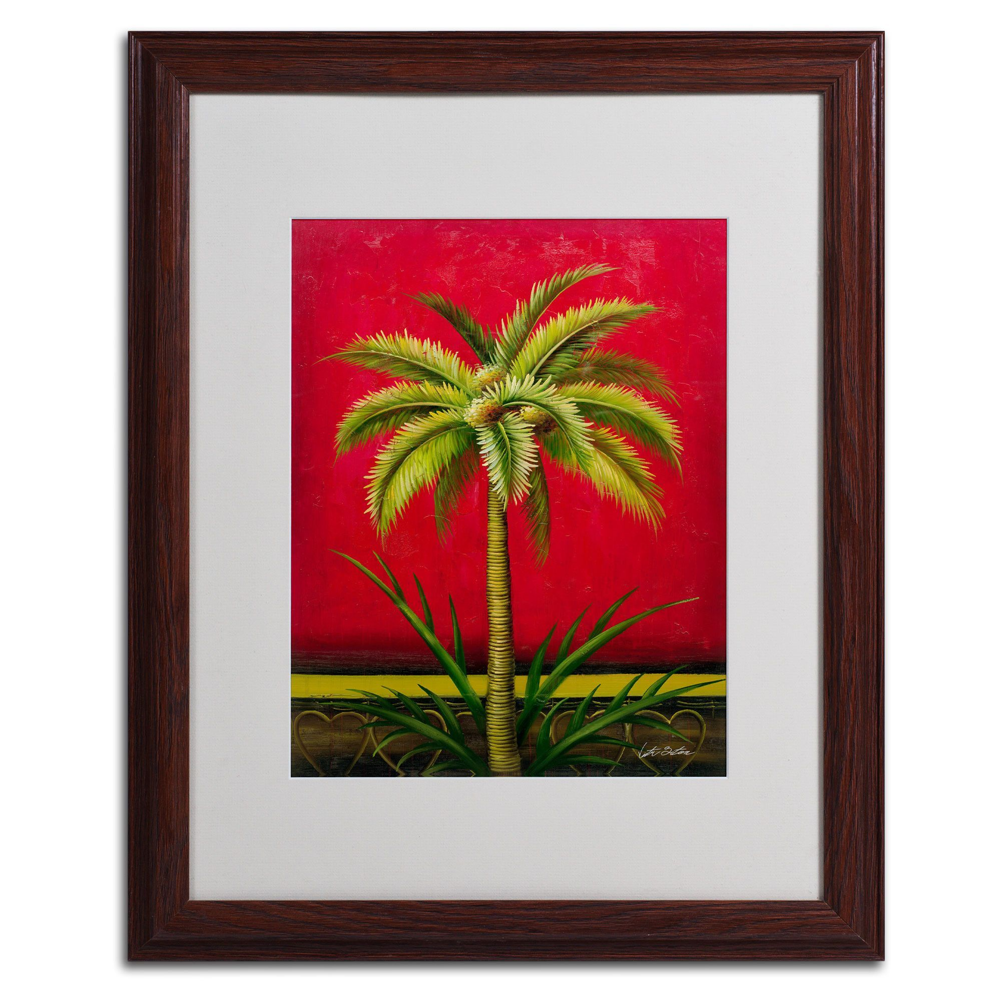 Tropical palm iu by victor giton matted framed painting print