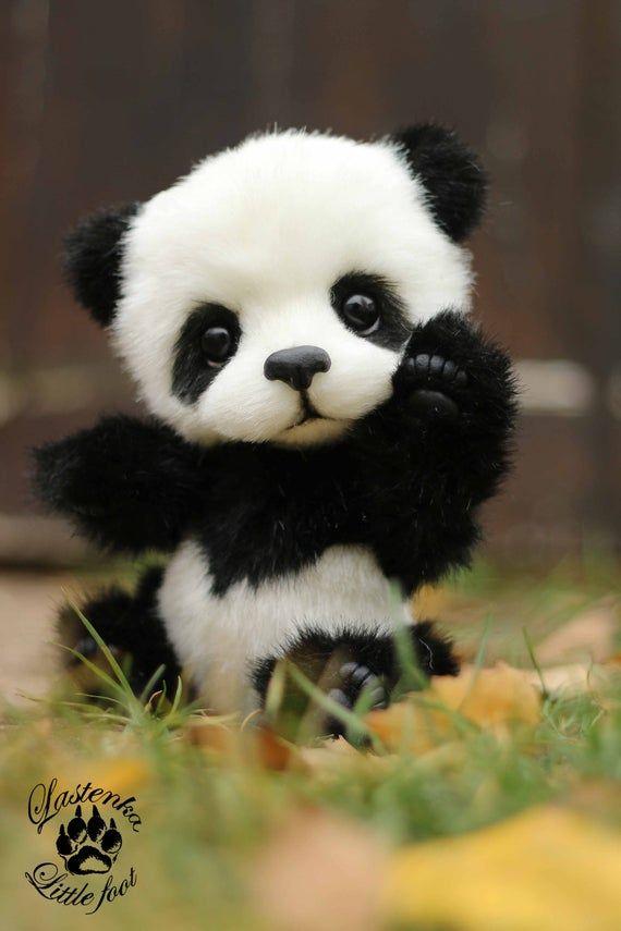 Panda  bear Hugo handmade plush collectible artist stuffed teddy bear OOAK toy cute panda cub realis