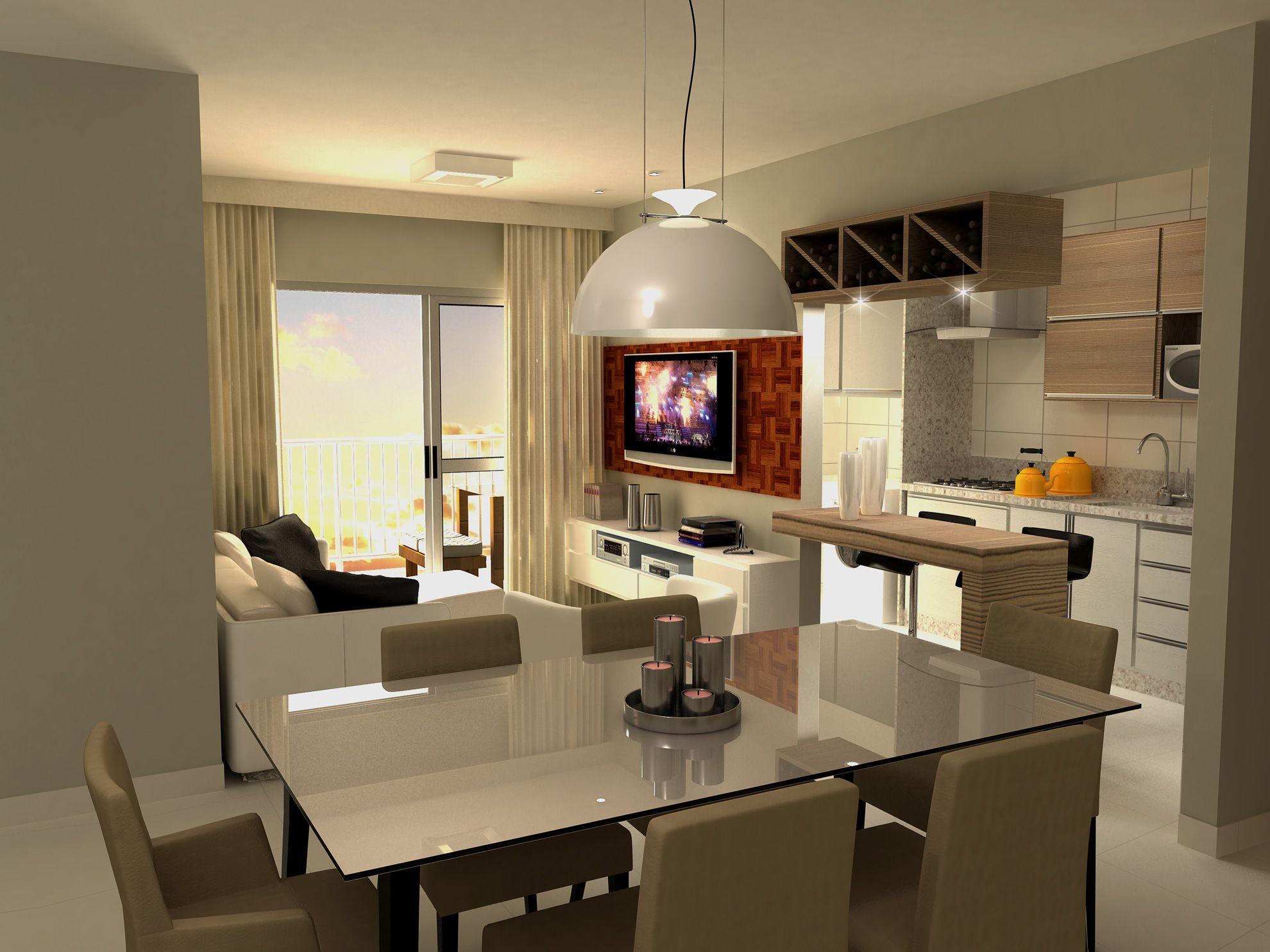 Sala De Estar Jantar Com Cozinha Conjugada Ap Pequeno Pinterest  -> Cozinha Com Sala Conjugada