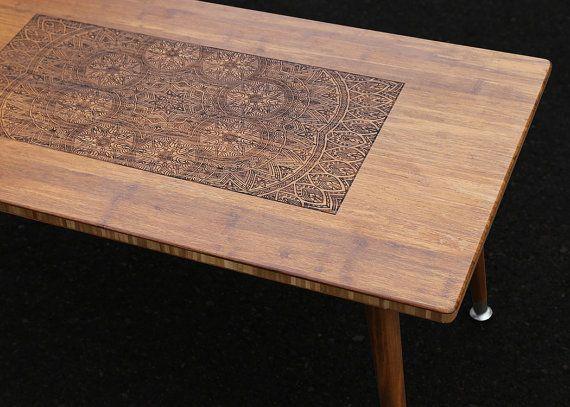 Modern Furniture Bangkok engraved walnut coffee table - modern wood furniture illustration