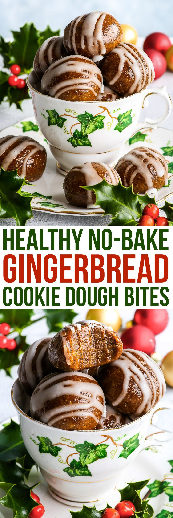 Healthy No-Bake Gingerbread Cookie Dough Bites - The Loopy Whisk