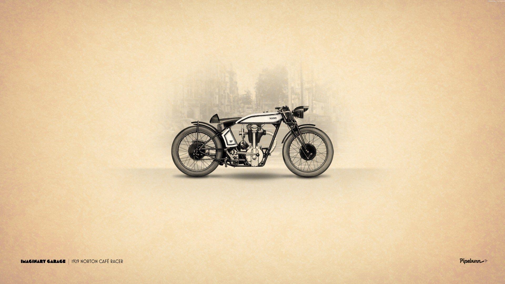 Vintage Motorcycle Wallpaper Desktop Norton Cafe Racer Cafe Racer Motorbike Art