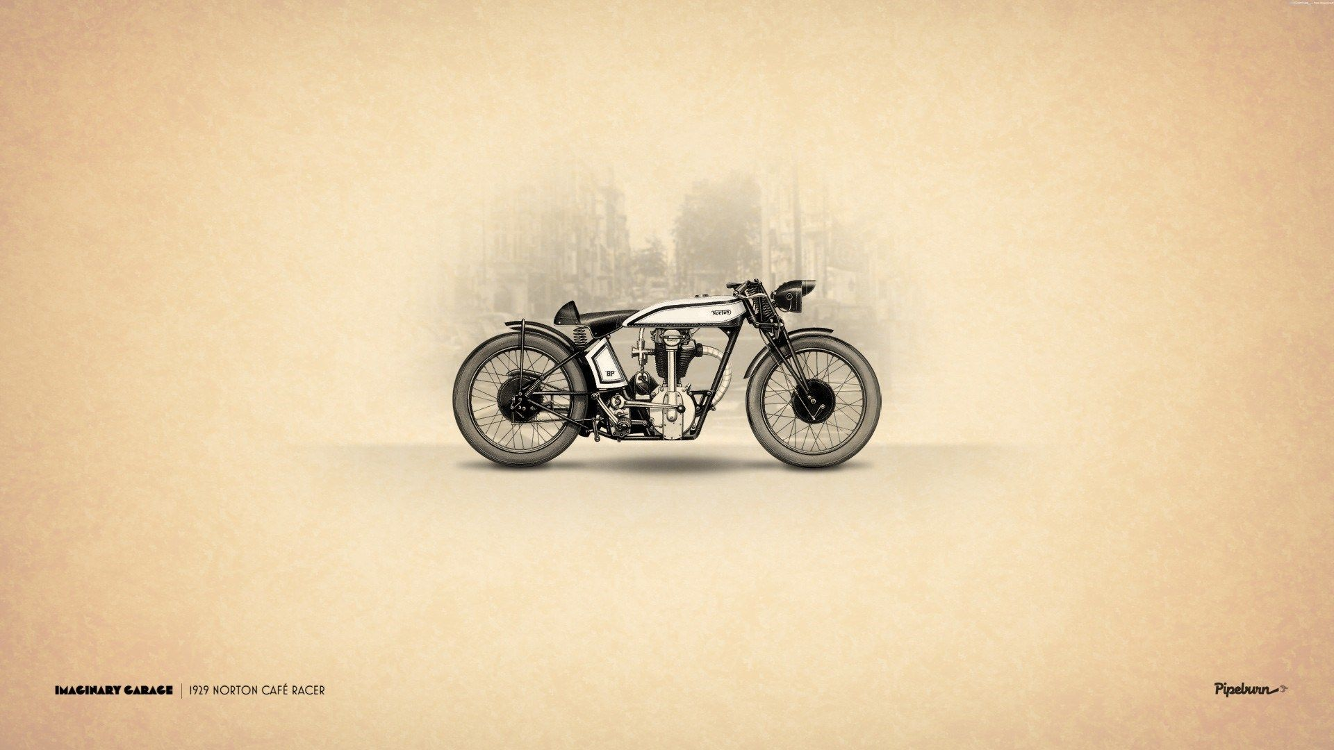 Hd wallpaper art - Vintage Motorbike Art Norton Cafe Racer Hd Wallpaper Zoomwalls Vintage Pinterest Wallpaper Motorcycle Wallpaper And Motorbikes