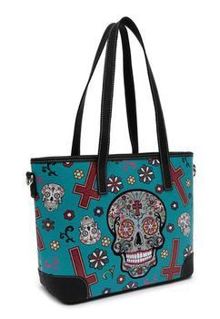 Cowboy Trendy Sugar Skull / Day of the Dead Tote (Teal)