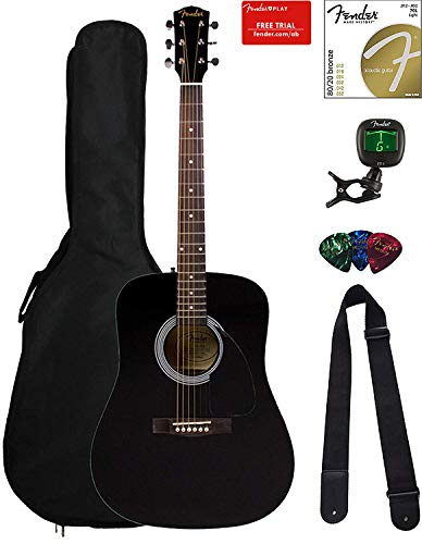Fender Fa 115 Dreadnought Acoustic Guitar Black Bundle With Gig Bag Tuner Strings Strap And Picks Miniza Clothing Purchase In Amazon Guitar Acoustic Guitar Guitar Kits