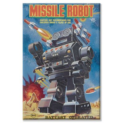 "Buyenlarge Missile Robot Vintage Advertisement on Wrapped Canvas Size: 24"" H x 16"" W"