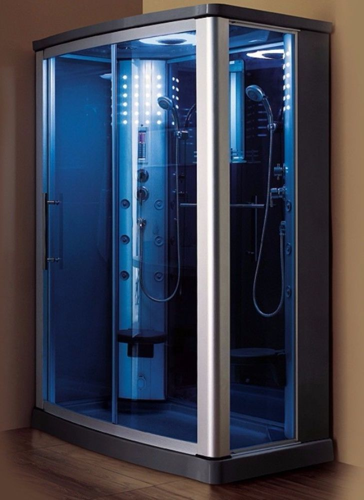 2 Person Steam Shower Acupuncture Water Body Jets Rainfall Shower Head Fm Radio Shower Sliding Glass Door Steam Showers Blue Glass