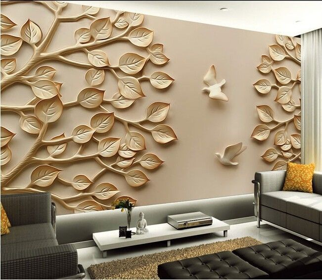 3d Wallpaper Mural Leaves Tree Bird Wall Paper Background Furniture Custom Size Living Room Tiles Wallpaper Walls Bedroom Wall Tiles Living Room
