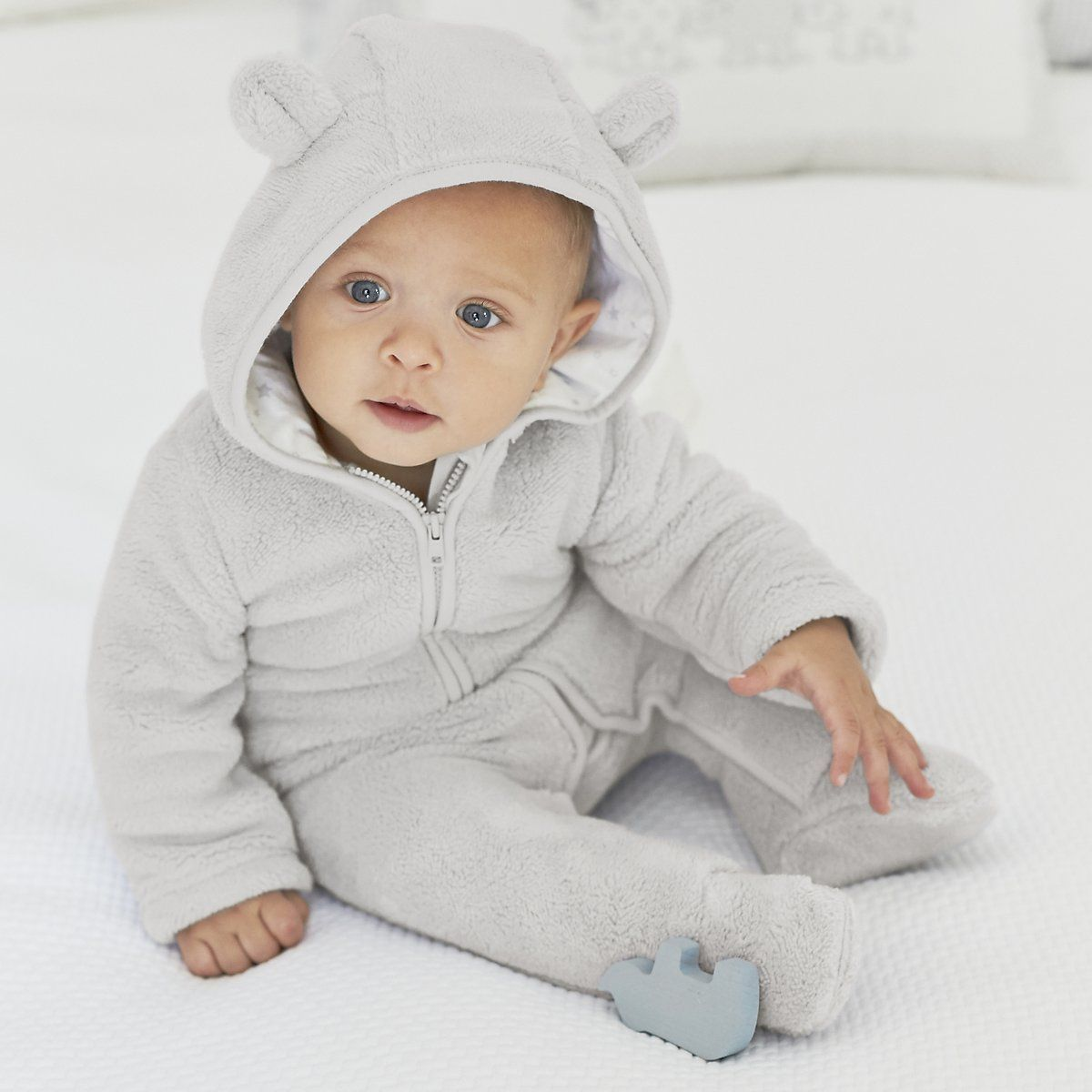 Bear Ears Fleece Romper   Newborn   Baby   The Little White Company   The White Company UK