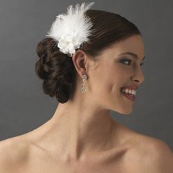 Petite Flower Feather Fascinator Bridal Wedding Day Hair Clip - Clip 420 White