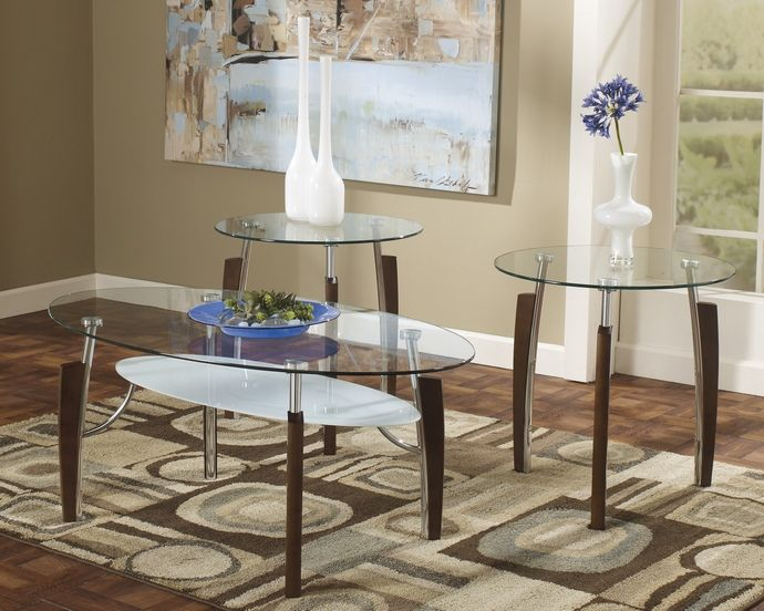 3 Pc Avani Collection Medium Brown Finish Wood And Chrome Metal With Glass  Top Coffee And. Coffee And End TablesEnd Table SetsCoffee ...