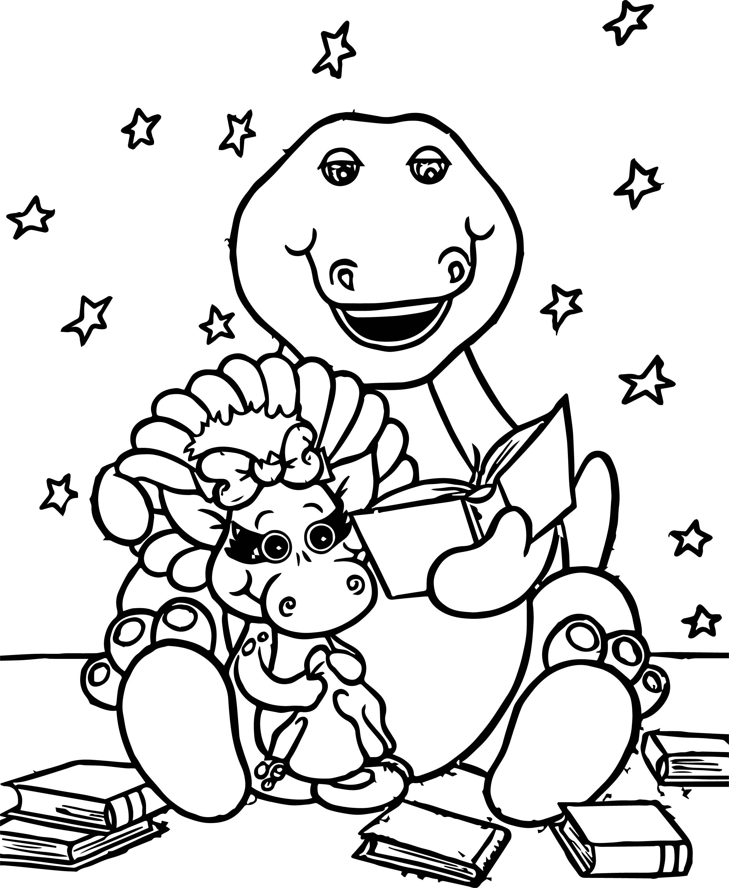 Awesome Barney Reads To Baby Bop Coloring Page Cartoon Coloring Pages Printable Coloring Pages Coloring Pages