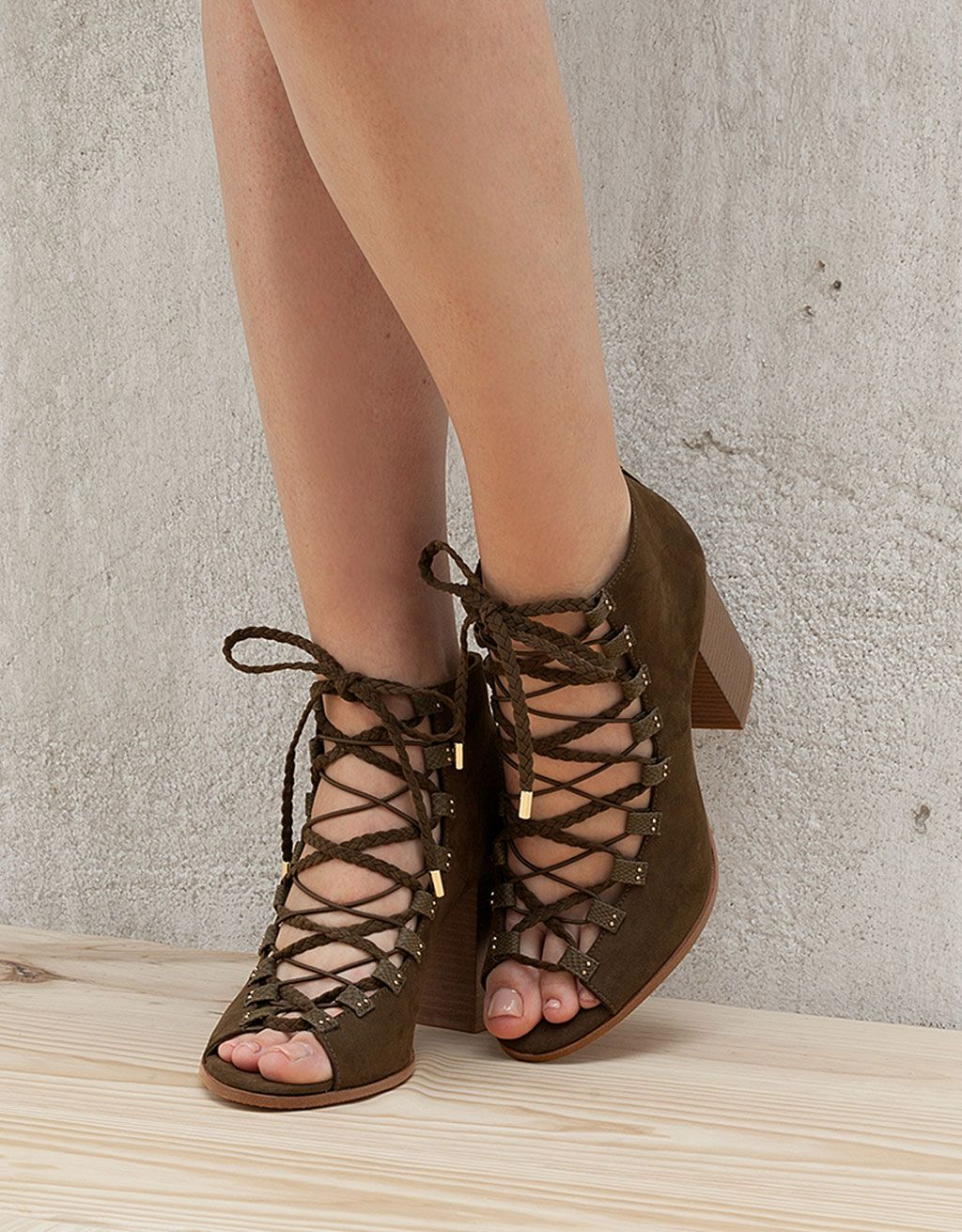 Lace-up heeled sandals. Discover this and many more items in Bershka with  new products every week 90fadd42c3dd