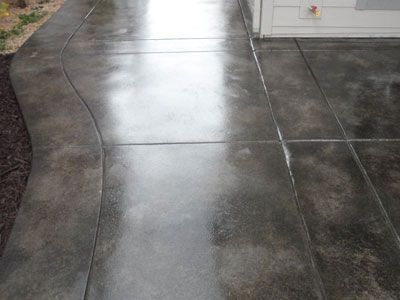 Stained Sealed Charcoal Patio Concrete Patios