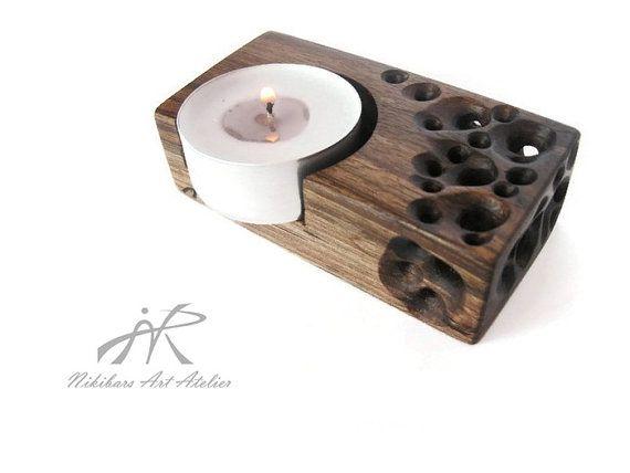 Wooden Candle Holder Hand Carved Wood Candleholder Wood Tea Light Holder Candle Art Christmas Gi Wooden Candles Wooden Candle Holders Wood Tea Light Holder