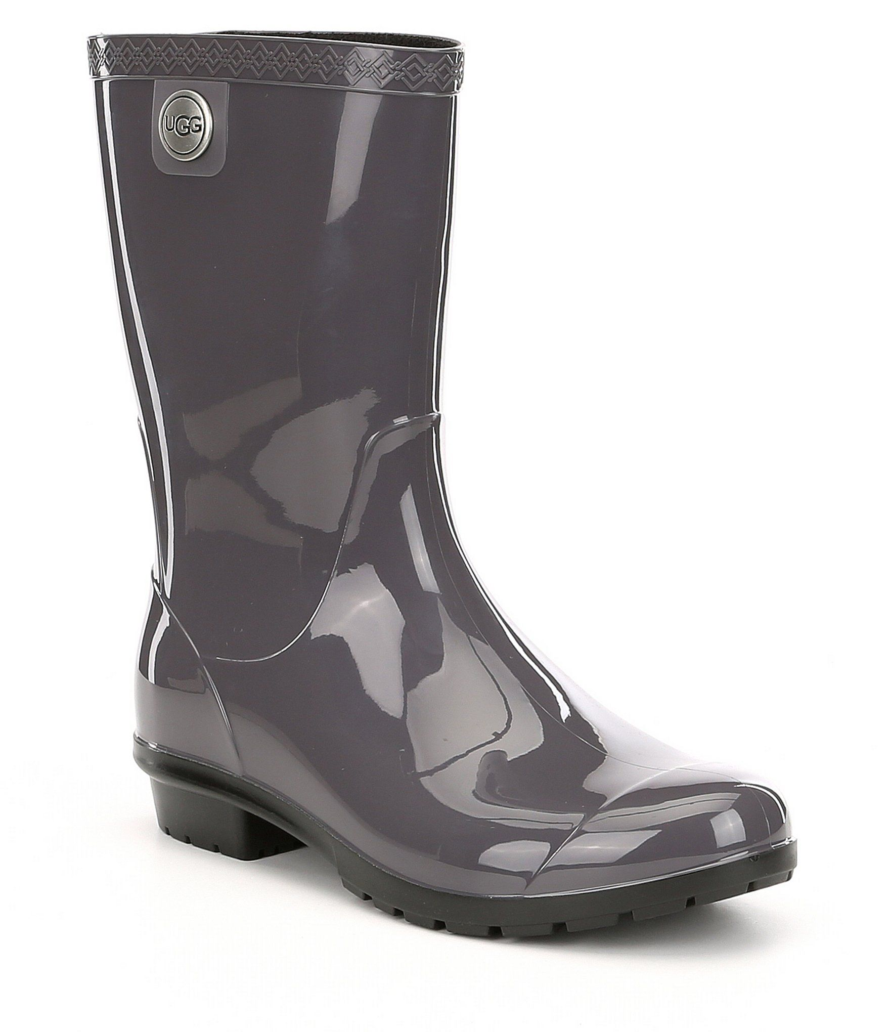 Ugg Sienna Rubber Shearling Lined Glossed Waterproof Rain Boots