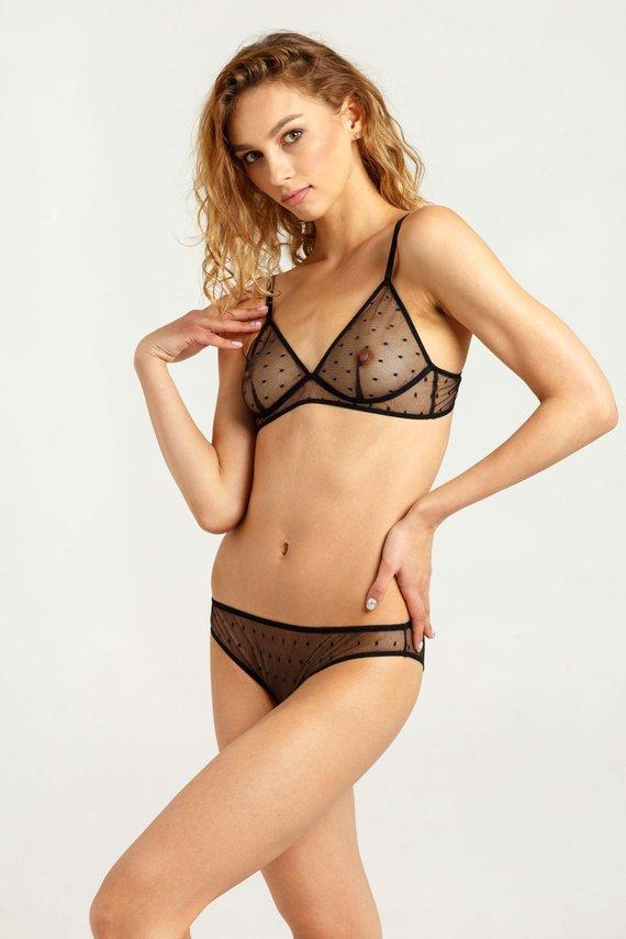 a9c5e079c Black mesh underwear - Transparent lingerie set - Black mesh lingerie - Black  mesh bra - Black mesh