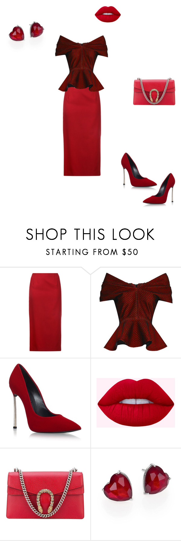 """""""red passion"""" by viktoria-flame ❤ liked on Polyvore featuring Le Ciel Bleu, Emilio De La Morena, Casadei, Gucci, Adriana Orsini, red, fashionset, redfashionset and redisnevertoomuch"""