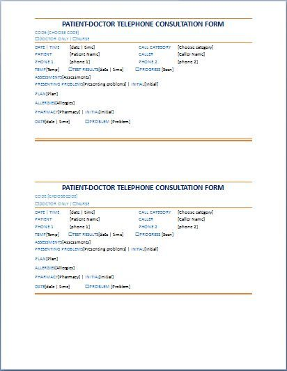 PatientDoctor Telephone Consultation Record Form is used by – Medical Consultation Form