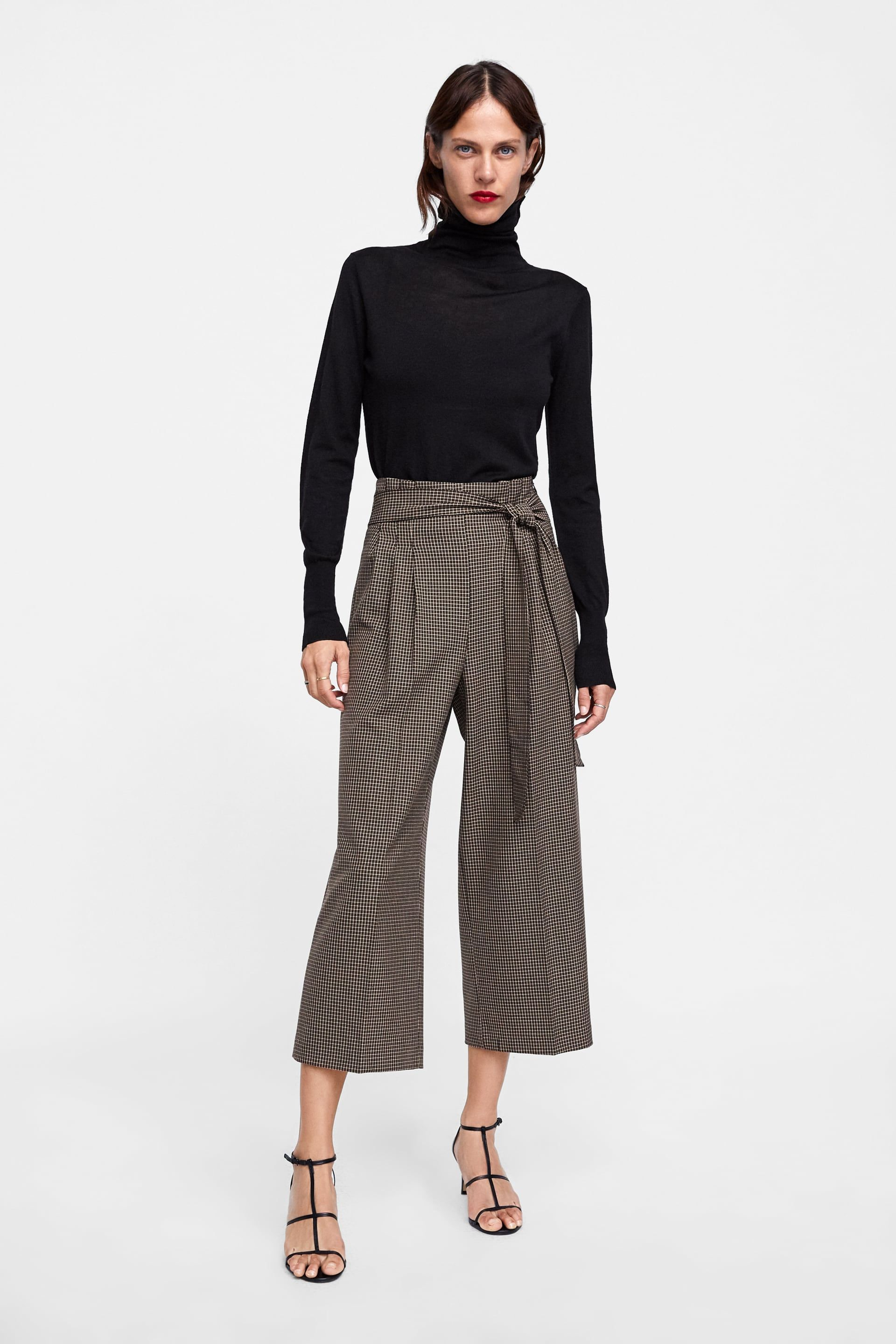 69739d52 Image 1 of BELTED PLAID CULOTTES from Zara Cute Scarfs, Shirt Skirt, New  Teen