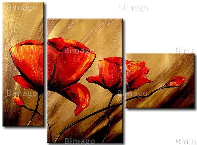 Leinwandbild Mohnblumen Im Wind Kunstmalerei Blumen Blumen Gemalde Gemalde Auf Leinwand