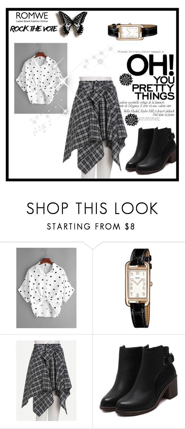 """""""Romwe #13"""" by zerina913 ❤ liked on Polyvore featuring Hermès and romwe"""