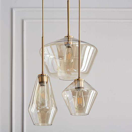 Sculptural Glass Geo 3 Light Chandelier Mixed Glass Pendant Lamp Glass Pendant Light Hanging Pendant Lamp