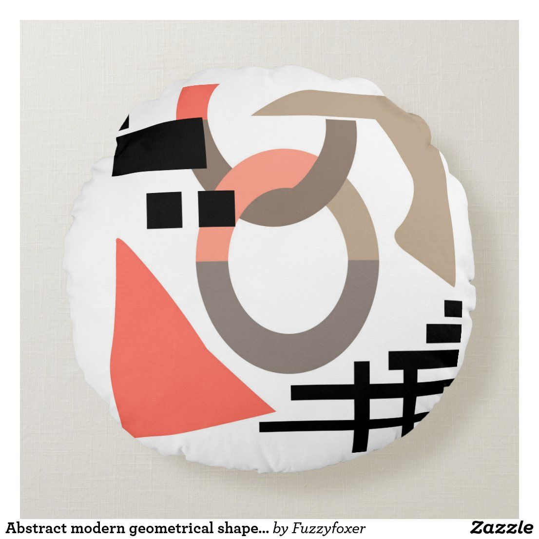 Abstract modern geometrical shapes elements coral round pillow