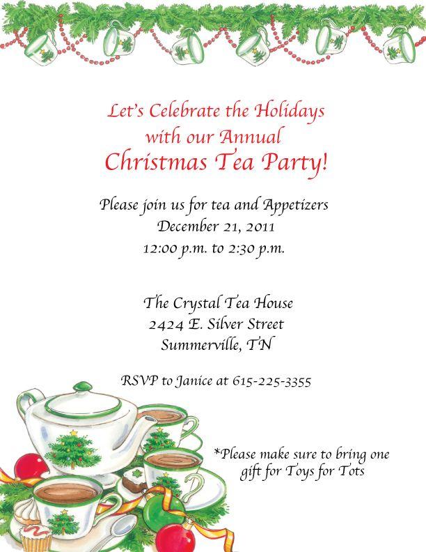 Christmas tea party wording   Tea Party Invitations   Pinterest ...
