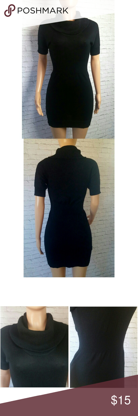 c049816817 Ann Taylor Loft Black Sweater Dress Sexy form fitting black sweater dress  with turtle neck and half sleeves. Dress is semi sheer. Size xsp .