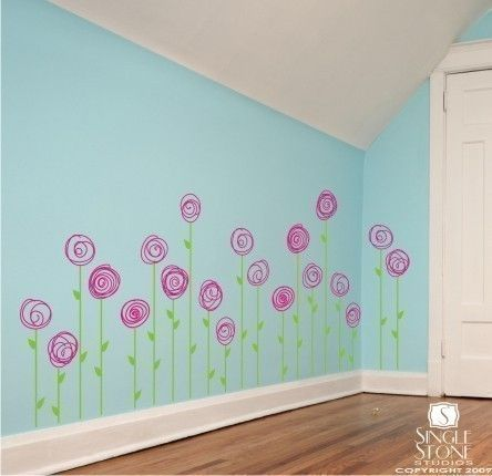 Wall Decals Doodle Flower Garden Set Of  Vinyl Wall Stickers - Somewhat about wall stickers