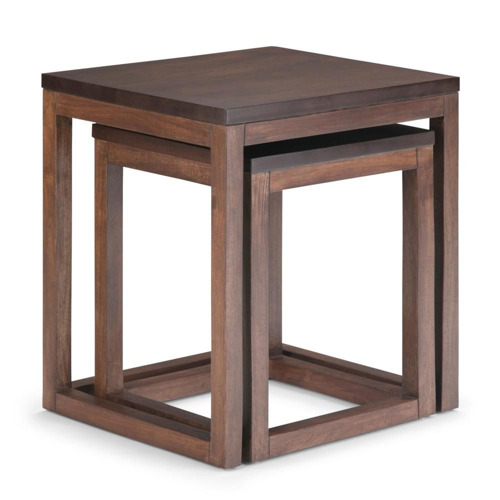 Simpli Home Landon 21 In Wide Modern Rustic 2 Piece Nesting Table In Two Tone Brown Axclad 06 In 2020 Nesting Tables Table Wood