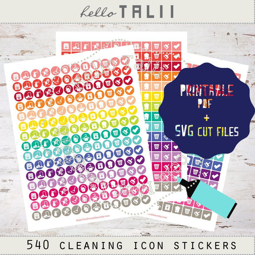 CLEANING Icon Stickers- SPRING Cleaning Planner stickers
