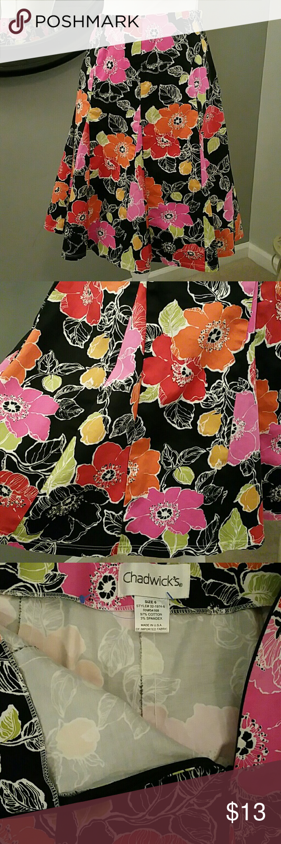 """CHADWICKS Floral Flared Skirt! Floral multi-gored flared skirt by CHADWICKS! Colors: black/orange/fuschia/green/mustard/white Side zipper.  Cotton fabric (medium-weight) Length of skirt: 22""""  Waist measures 13"""" side-to-side  Size 6, but fits more like a 4.  Excellent condition!! No flaws!! Chadwicks Skirts Midi"""