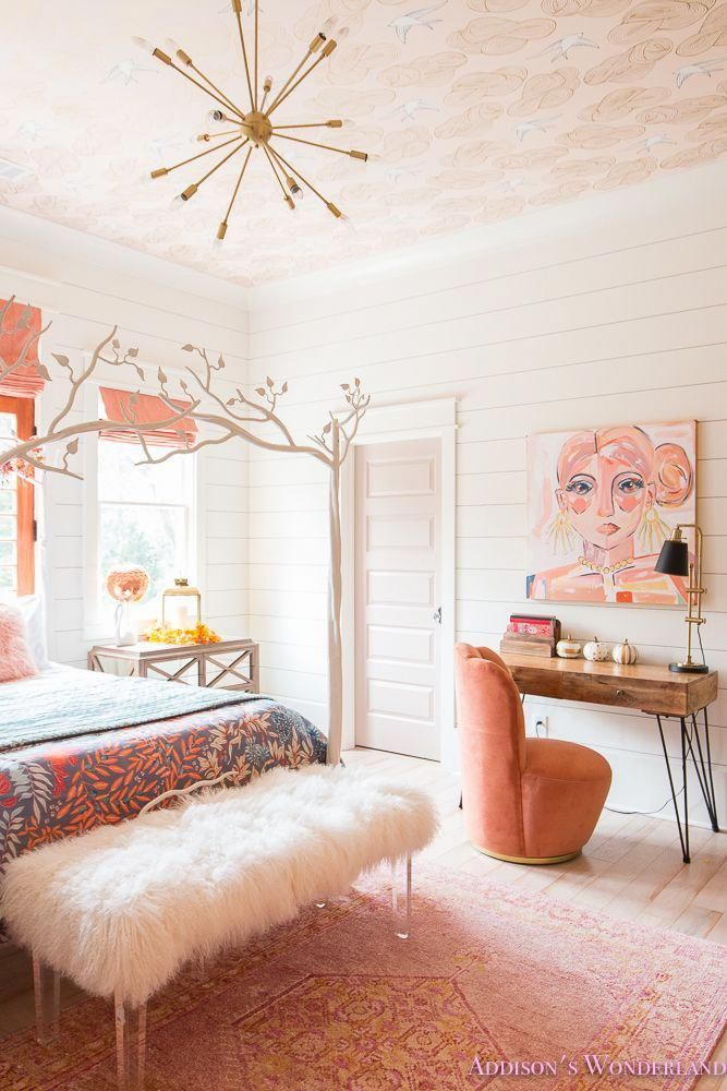 Fresh ideas for fall home tour addison   wonderland inside our pre teen daughter chic bedroom renovation features white shiplap walls brass sputnik also decorating exclusive bed linen rh pinterest