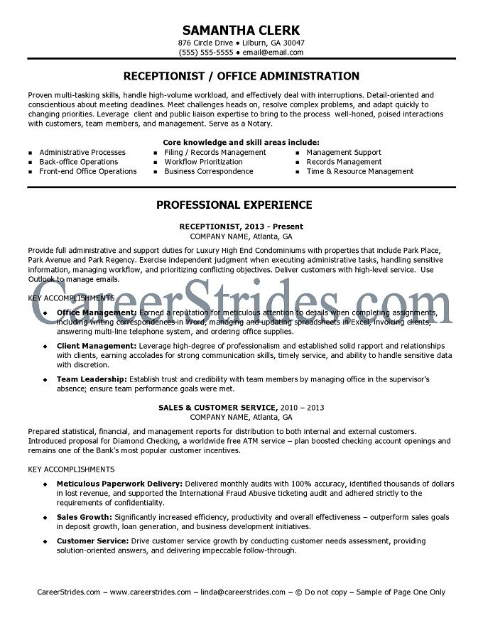 Receptionist Resume Sample (Example) Job Hunt Pinterest - receptionist objective on resume