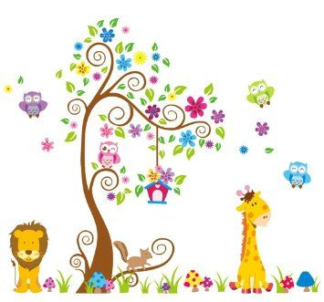 Giant Wall Decals for Kids Rooms, Nursery, Baby, Boys & Girls Bedroom - Peel & Stick, Large Removable Vinyl Wall Stickers - 106 Individual Sticker of Tree, Cute Animals, Owl and Colorful Flowers - Comes with Installation Guide