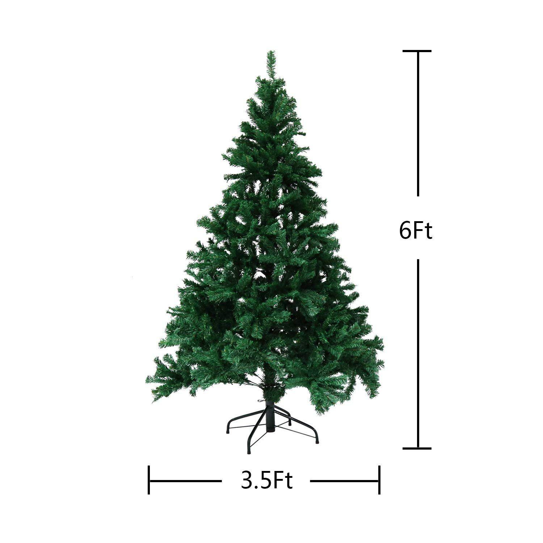 Kinbor Premium Hinged Artificial Christmas Pine Tree With Solid Metal Base 1000 Tips Full Tree Without Decorati Tree Christmas Decorations Apartment Metal Base