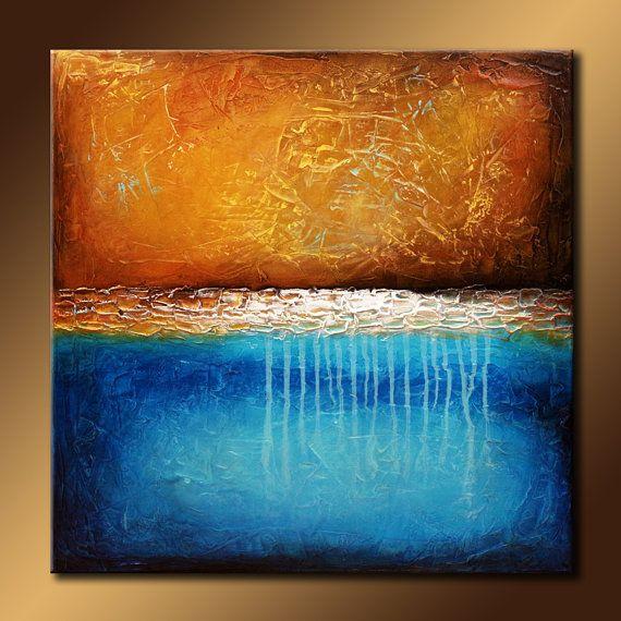 TEXTURED Original Abstract Painting 30x30 Canvas Modern Acrylic Sea Shoreline…