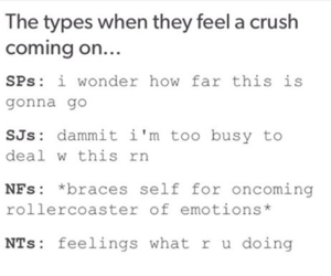mbti types when they feel a crush coming on      INFJ/ME   Mbti